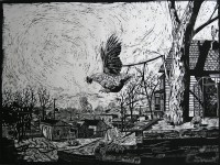 Ganymede, a woodcut by Watie White