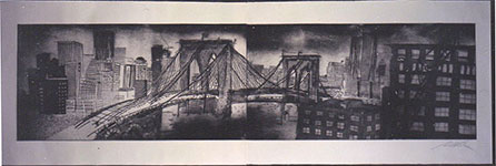 Brooklyn Bridge, a Etching and Aquatint,drypoint by Adam Werth