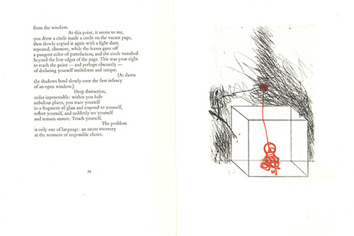 A page from Angels Disturb Me by Roberto Sanesi and artwork by Masuo Ikeda (1934-1997)