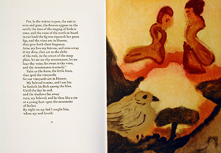 A page from Song of Songs by English translation from the King James Bible. and artwork by Rita Gallé 4 Acquatint etchings